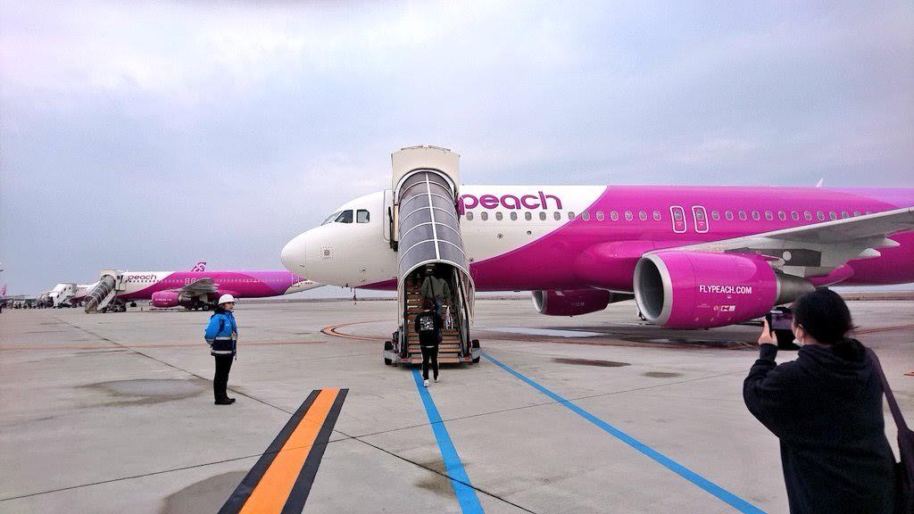搭乗する飛行機の写真
